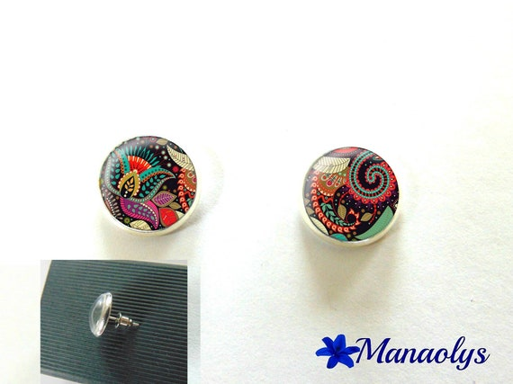 Stud colorful earrings, silver round, multicolored patterns, 3119 glass cabochons