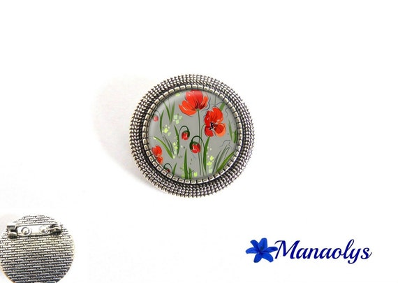 Poppy brooch, antique silver round, red flowers, glass cabochons