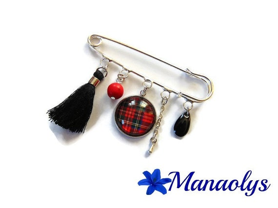 Brooch tartan brooch Plaid, silver pin brooch glass cabochon, black tassel