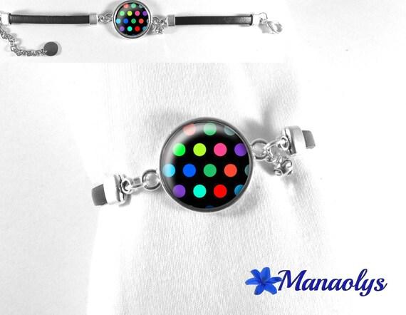 Black leather bracelet, multicolor dots on black background 260 glass cabochon