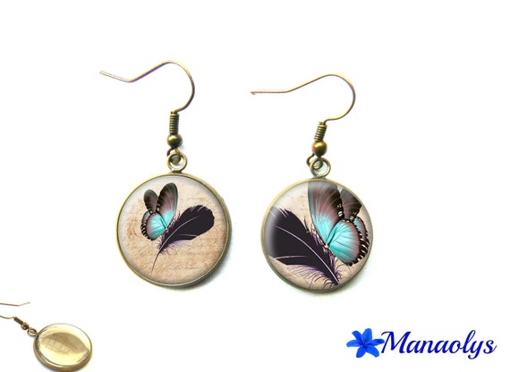 Butterflies earrings, bronze earrings, vintage, glass blue butterflies and feathers 2326 cabochons
