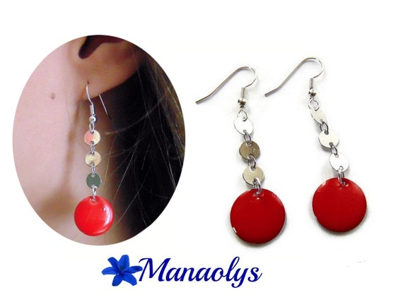 Pink earrings, enamel, enameled charms 3288
