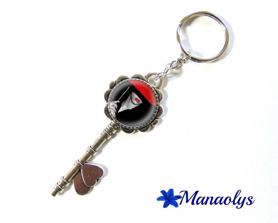 Door keys or jewelry bag, silver key and cabochons glass, the Lady in the Red umbrella 86