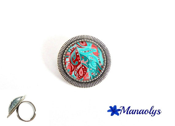 ring adjustable round silver aged, pattern blue turquoise, Burgundy and pink glass cabochons