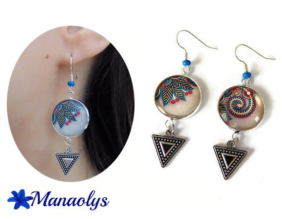 Earrings fuchsia patterns and blue, Paisley, paisley, cabochons glass, silver triangles