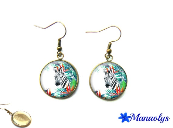 Zebra, Zebra and flowers 2233 glass cabochons vintage bronze colored earrings