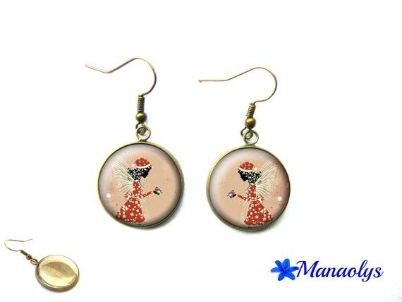 Christmas earrings, Christmas, fairy, snow, Christmas jewelry, cabochons glass 3608