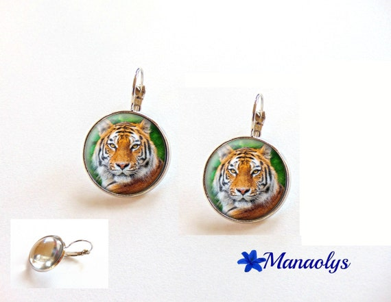 Earrings Tiger, sleepers, drawing Tiger 3593 glass cabochons