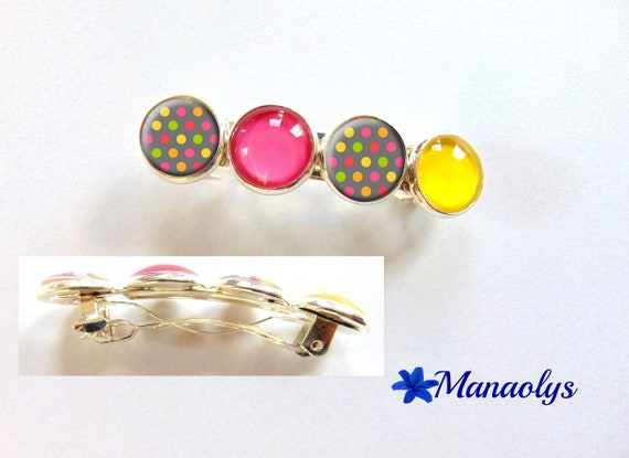 Cabochons glass, multicolored patterns, dots, hair clip