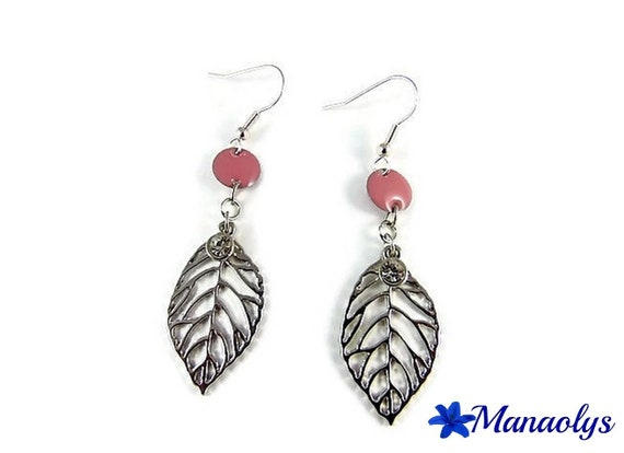 Earrings leaves silver, rhinestone and enamel pink connectors