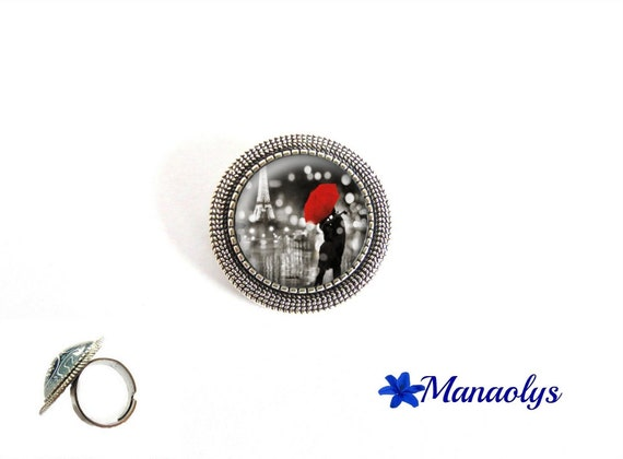 ring adjustable round antique silver, lovers, red umbrella, glass cabochons