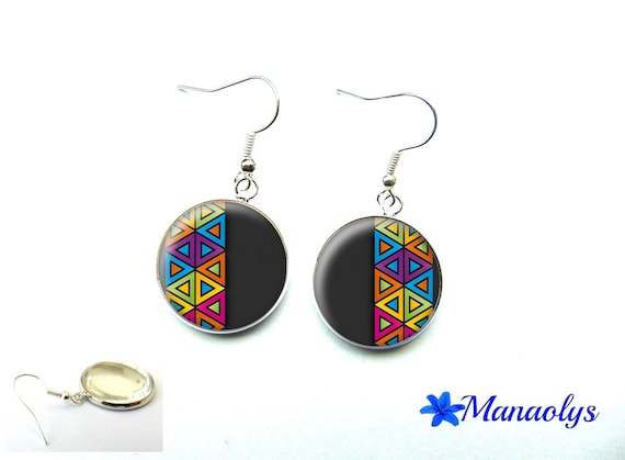 Colorful earrings, multicolored patterns, 3258 glass cabochons