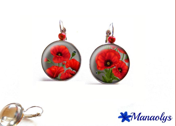Earrings sleepers poppies, flowers, glass beads red 3581 cabochons