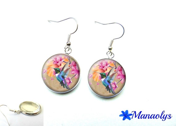 Earrings cabochon glass birds and colorful flowers 1662