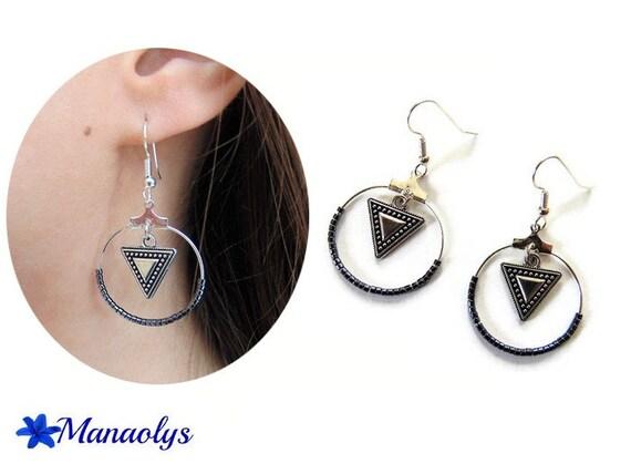 Hoop earrings, silver rings, earrings miyuki beads and triangles, ethnic pendants