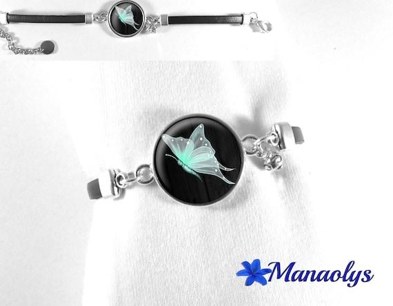 Black leather, mint green fairy Butterfly glass cabochon bracelet