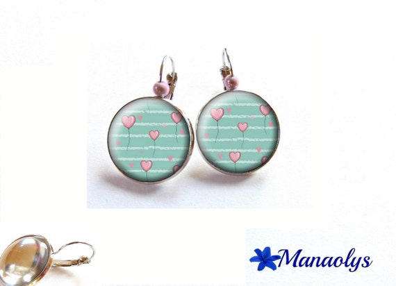 Stud Earrings, hearts, love, 3524 glass cabochons