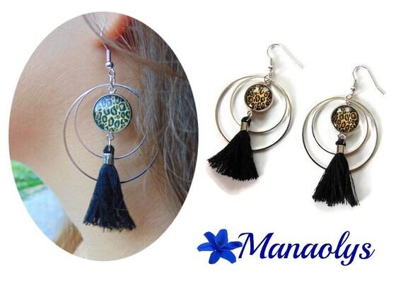Leopard, Leopard print, black tassel earrings Creole earrings tassels