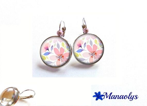 Dangle earrings flowers, glass cabochons, beads magic 3571