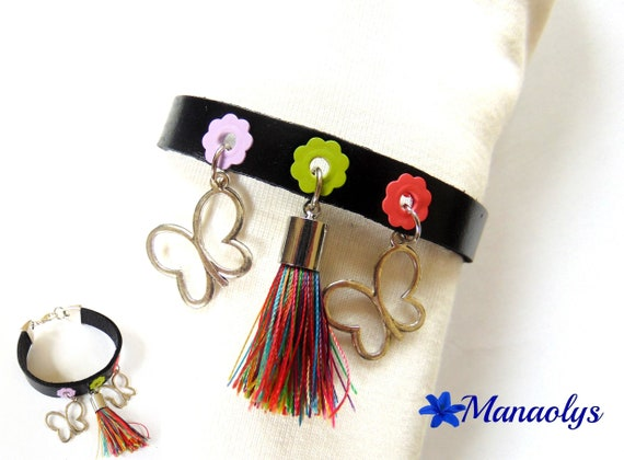 Black genuine leather, silver Butterfly charm and multicolored tassel bracelet mothers day