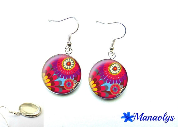 Colorful earrings, colorful flowers, 2771 glass cabochons