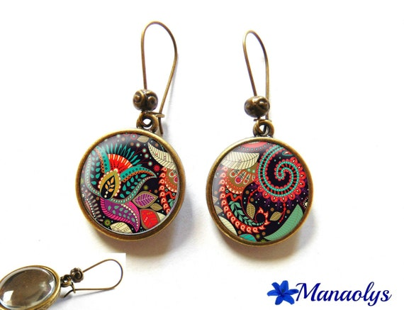 Colorful earrings, multicolored patterns, dormeuses color bronzes, retro 3120