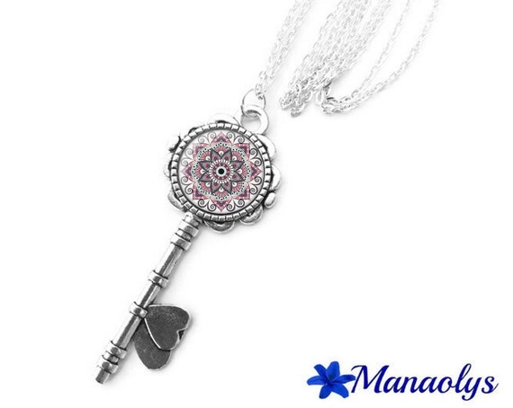 Necklace silver key, flowers, mandala, ethnic, pink, 417 glass cabochons