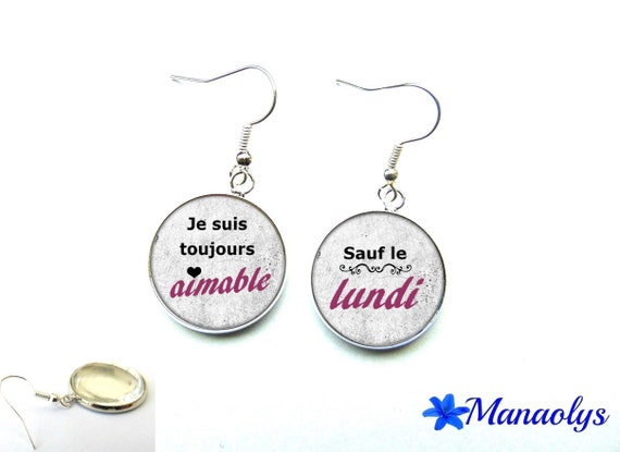 Message, humor, funny phrase, 3153 glass cabochons earrings