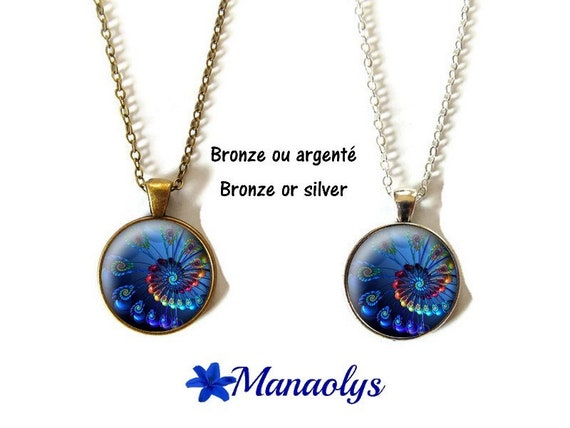 Collar or necklace, swirls, fractal patterns blue, glass, silver or bronze supports cabochons
