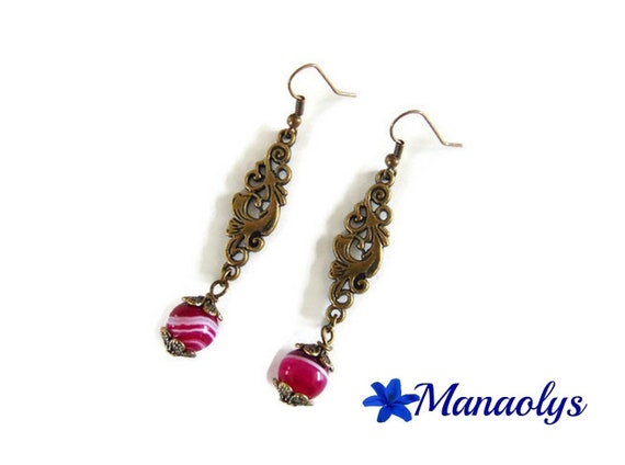 Earrings bronze color vintage arabesques and pearls, fuchsia agate stone