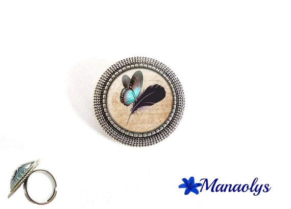 ring adjustable round antique silver, blue butterfly and feather, 184 glass cabochons