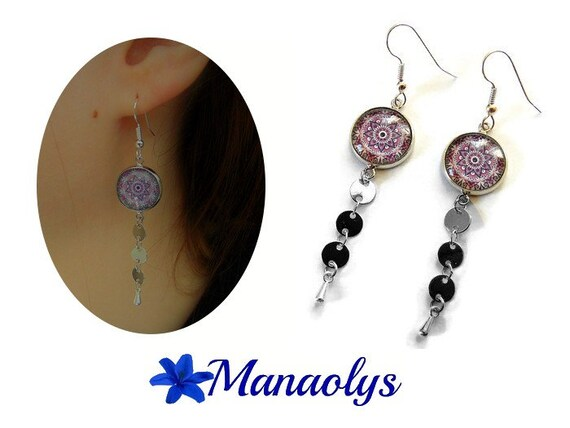 Earrings cabochon pink mandala, Bohemian style