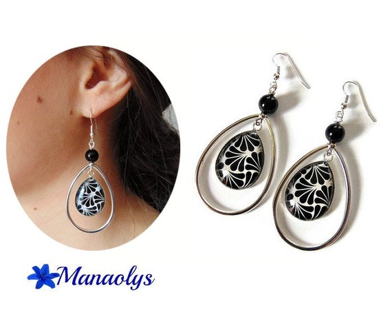 Large art deco earrings, silver drops silvered art deco patterns, glass cabochons