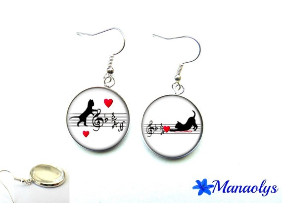 Cats and musical 2976 glass cabochons earrings