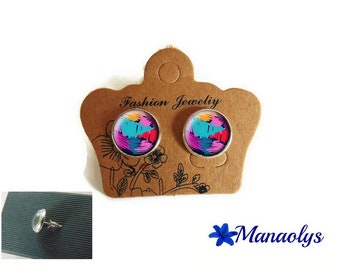 Painting, abstract, color, silver studs, glass 3526 cabochons earrings