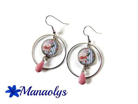 Bohemian hoops, silver rings, glass cabochon earrings, drops pink enamel