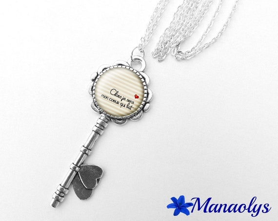 """Necklace silver key, cabochon glass message """"then, I feel my heart beating"""" 351"""