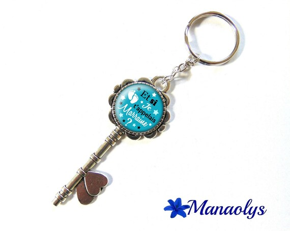 "Keyring or bag charm, ""and I call you godmother?"", birth, 142 glass cabochons"