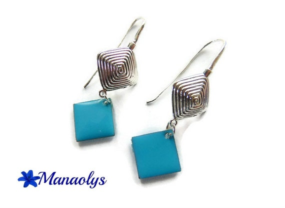 Leverback Earrings colourful stripes and blue enamel diamond 3065