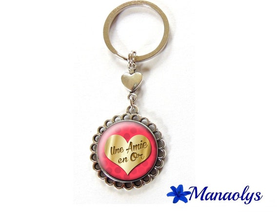 Key ring or bag charm a friend or 100 glass cabochons