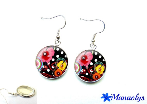 Polka dots and flowers earrings multicolored 1792 glass cabochons