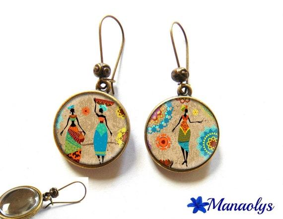 African women, African motifs earrings bronze earrings, retro 3083