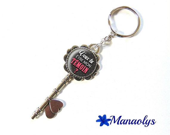 """Door keys or bag charm, """"Will you be my best man?"""", wedding, 148 glass cabochons"""