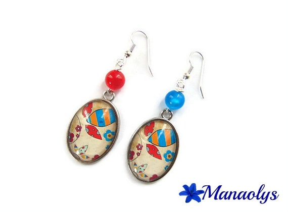 Earrings oval glass cabochons and resin 3143 beads blue, red, Orange, patterns