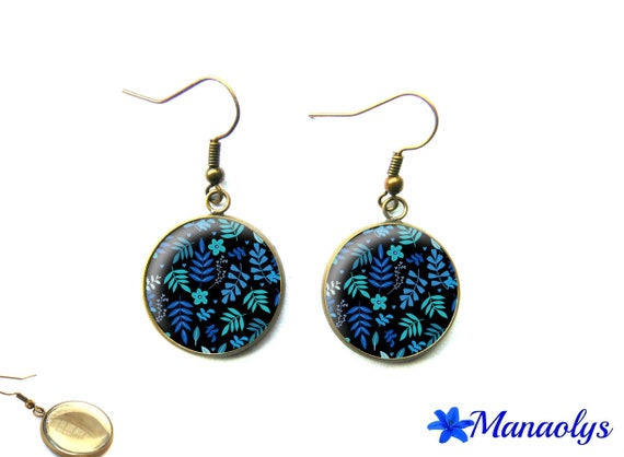 Vintage bronze cabochons earrings glass blue flowers 3121