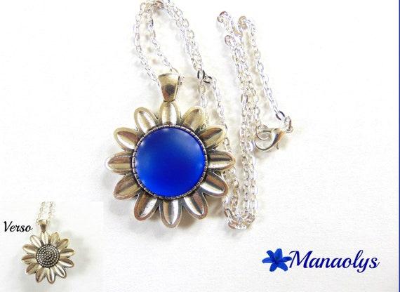 Blue necklace, luna soft cabochon silver chain *.