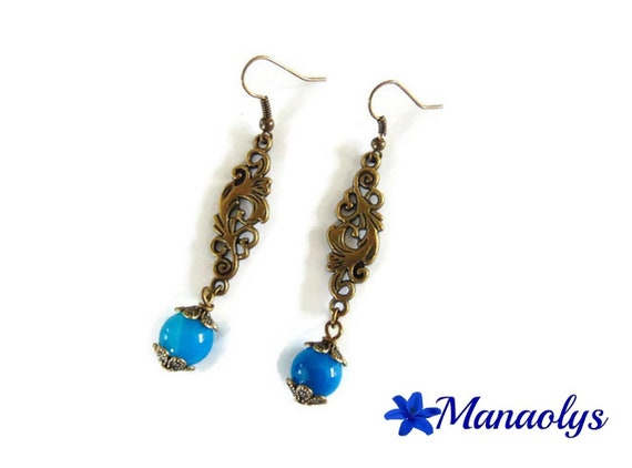 Earrings bronze color vintage arabesques and pearls, blue agate stone
