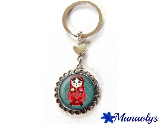 Key ring or bag matryoshka charm red on blue background, 94 glass cabochons