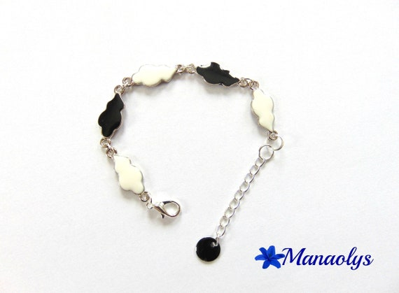Bracelet black and white clouds enamel and silver