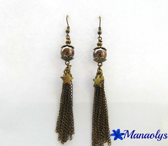 Long dangle earrings bronze color vintage 684 bronze chains, glass pearls